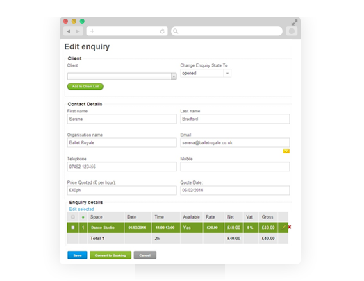 ... To Record Your Enquiries, Check Availability And At A Later Date,  Retrieve That Enquiry, Automatically Recheck Availability And Convert Into  A Booking.